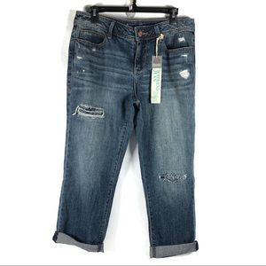American Rag Cropped Patched Boyfriend Jeans Sz 9